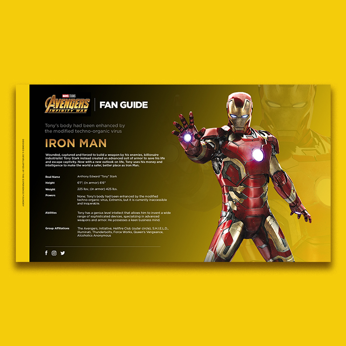 Marvel Infinity Wars Fan Web Application: Iron Man