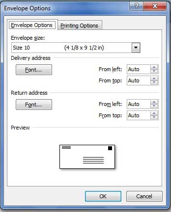 how to print address on envelope