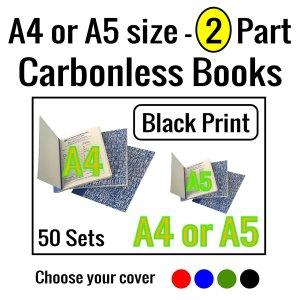 A4 - A5 Carbonless Books 2 part 50sets Black