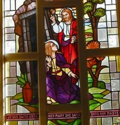 Reclaimed stained glass window for sale, Jesus and Mary Magdelene - Jesus Rising from the Dead.