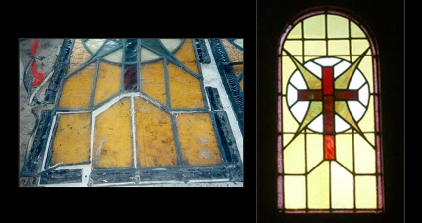 St. Paul's Basilica Toronto Ontario EGD Glass Restoration Stained Glass Cross Windows