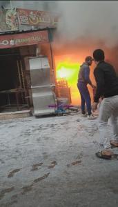 حريق هائل في فرن عيش بجوار مطعم الريس بمنطقة أبو شاهين بالمحلة الكبرى وتم السيطرة على الحريق   هائل