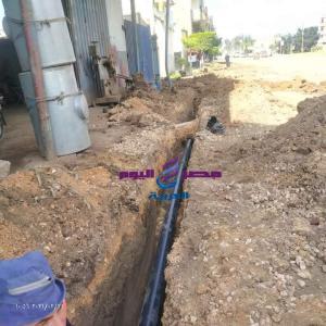 بدء العمل بخط مياه الشرب بطريق دسوق ، فوه قبل أعمال الرصف