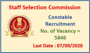 SSC Constable Recruitment 2020 : Apply Now