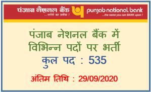 Various Vacancy in Punjab National Bank