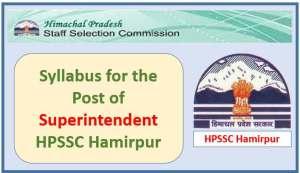 HPSSC Hamirpur Superintendent Grade-ll Store (HRTC) Syllabus
