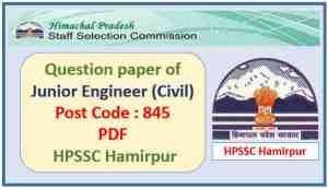 HPSSC Junior Engineer (Civil) Question Paper Pdf Download