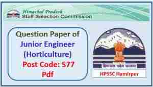 Read more about the article HPSSC Junior Engineer (Horticulture) Question Paper