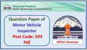 HPSSC Motor Vehicle Inspector Question Paper 2018 Pdf