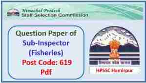 HPSSC Sub Inspector Fisheries Question Paper 2018 Pdf