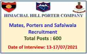 Read more about the article Himachal Hill Porter Coy Kinnaur Recruitment 2021 : Apply for 600 Porters Safaiwala Posts