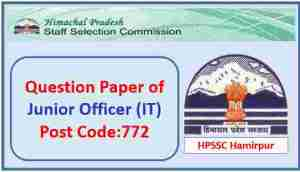 Read more about the article HPSSC Hamirpur Junior Officer (IT) Post Code 772 Question Paper 2021 Pdf