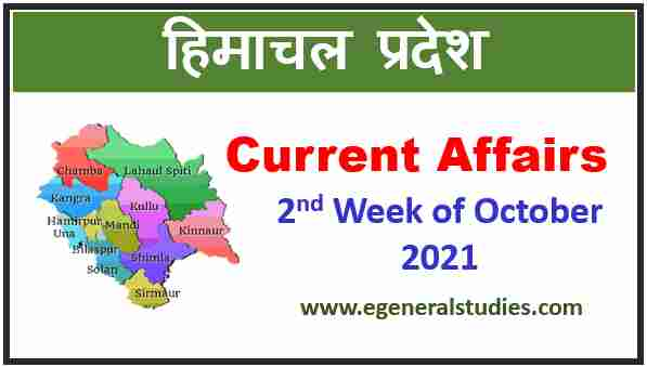 Read more about the article HP Current Affairs -2nd Week of October 2021