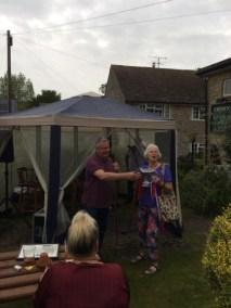 Maggie Stones receiving the Scarecrow Winner's Cup