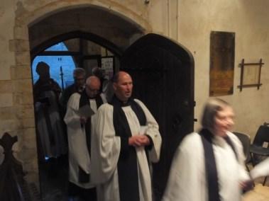 Chris entering the church