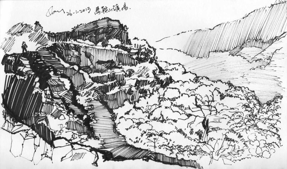 《馬鞍山露天礦場》墨水筆 21.5 x 12.5 cm 2013