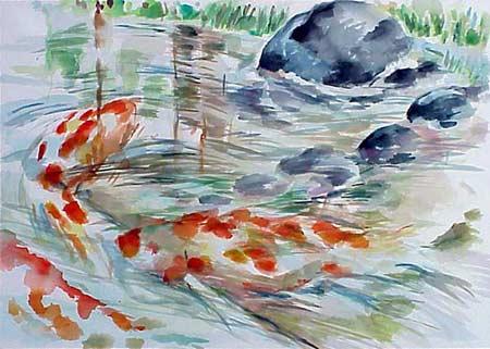 《魚》水彩 76cm x 56cm 3-2002