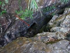 第一個隱蔽於梧桐散髮瀑頂的石隙內,今日攀登布頂,只能從高位向下觀察入口,由於裝備不足,未能下降至洞口。據現場視察,盛夏大水時分,此洞口應該為瀑布一部分,即是會被淹沒,十分有趣。