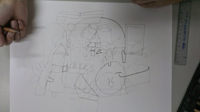 把不同面繪畫到平面上,也加入自己想像的物體。