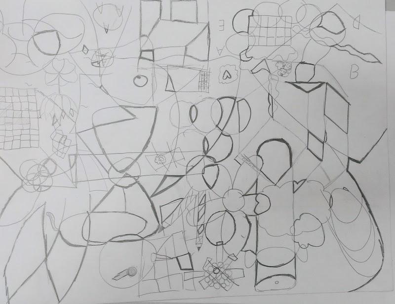 學生在凌亂交錯的線條裏勾選喜愛的圖案。