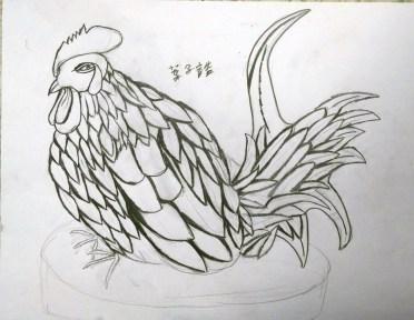 以深色鉛筆、講究粗幼的線條勾畫公雞。
