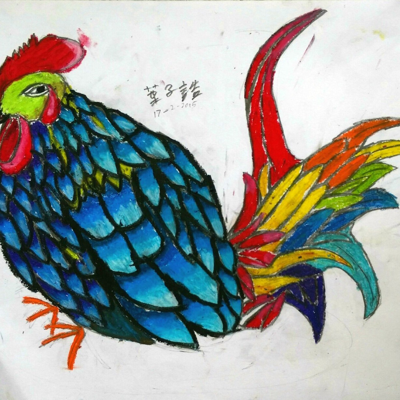 技巧掌握較高的學生會考慮光源、反光與暗位的關係,構成立體感強烈兼帶中國民間年畫風味。