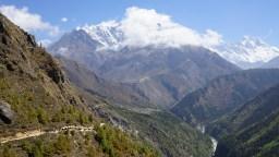 一隊運貨的牛隊在山路上。中間的村落是 Kyangiuma。
