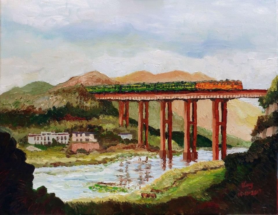 《白石渡鐵路橋》,油彩,50 x 40cm。