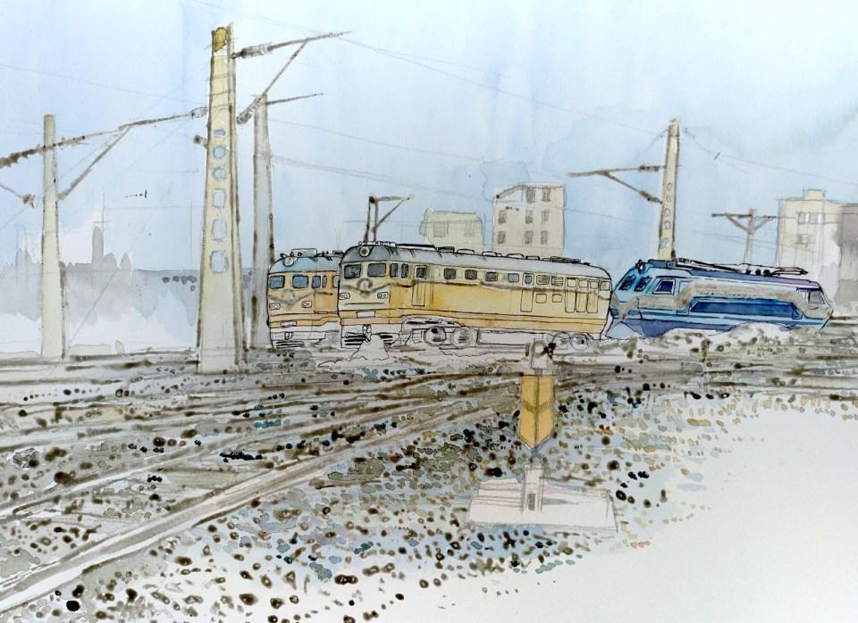 天空、路碴和韶山機車都以藍為主調,之後以黃及橙替東風機車塗上第一、二層顏色。
