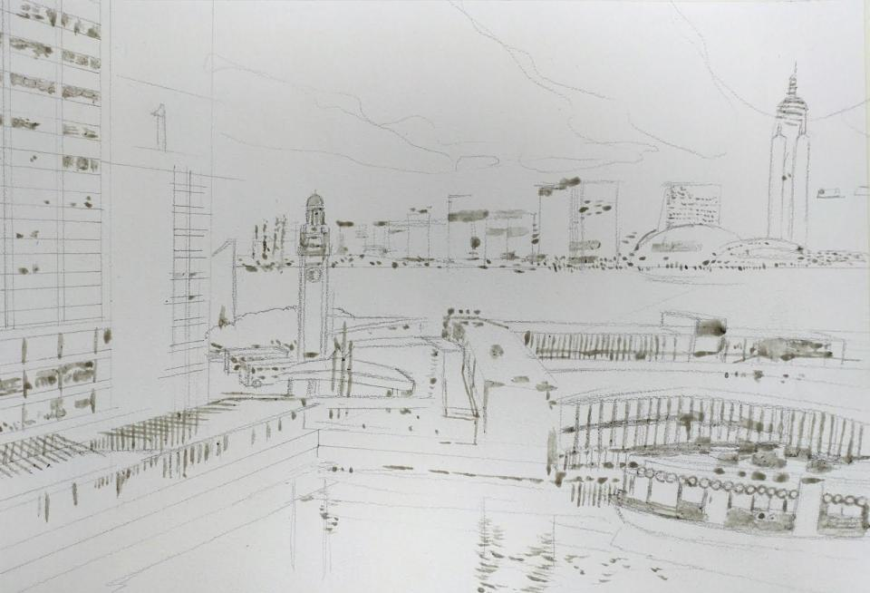 《天星碼頭》水彩畫