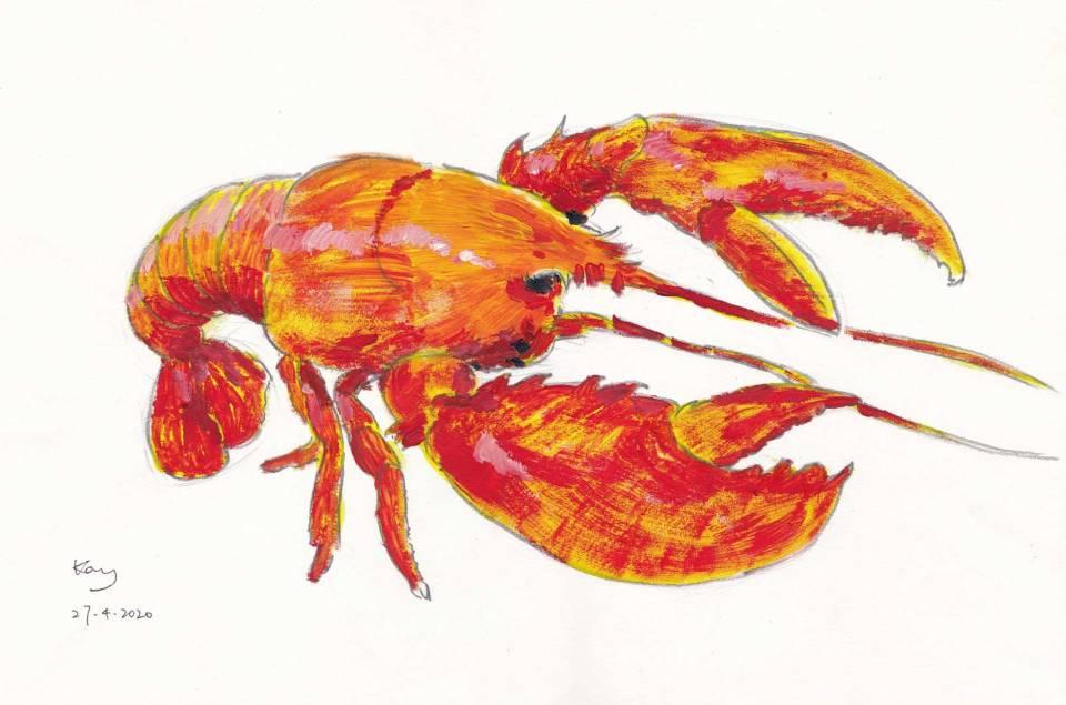 龍蝦—廣告彩 38.5cm x 29.4cm 27-4-2020