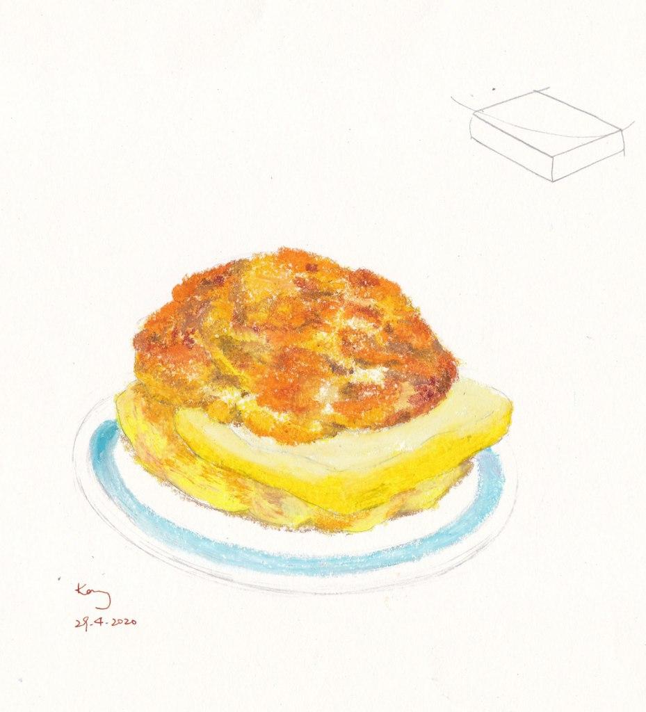 《菠蘿油》油粉彩 29-4-2020