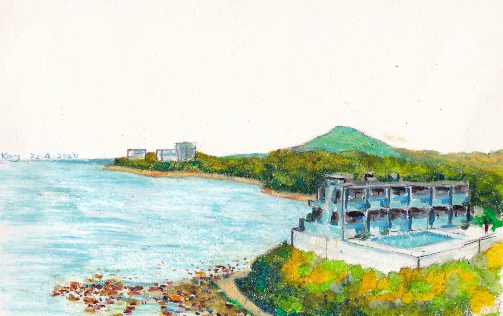 《香港島南岸 II》油粉彩 29cm x 18.5cm 22-4-2020