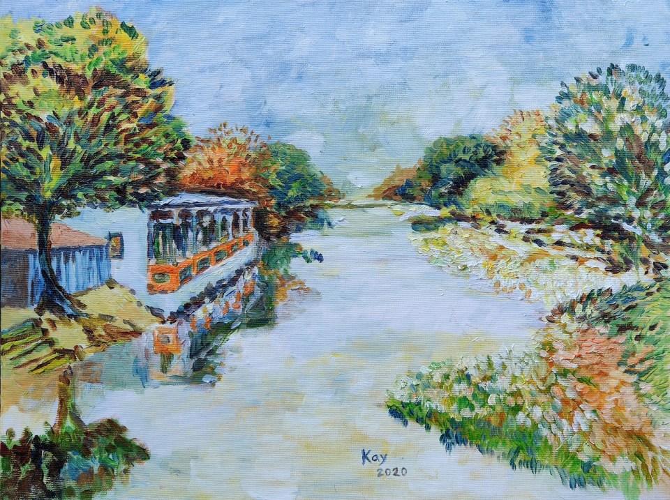 《營盤河畔小屋(油彩)》油彩 40cm x 30cm 10-6-2020