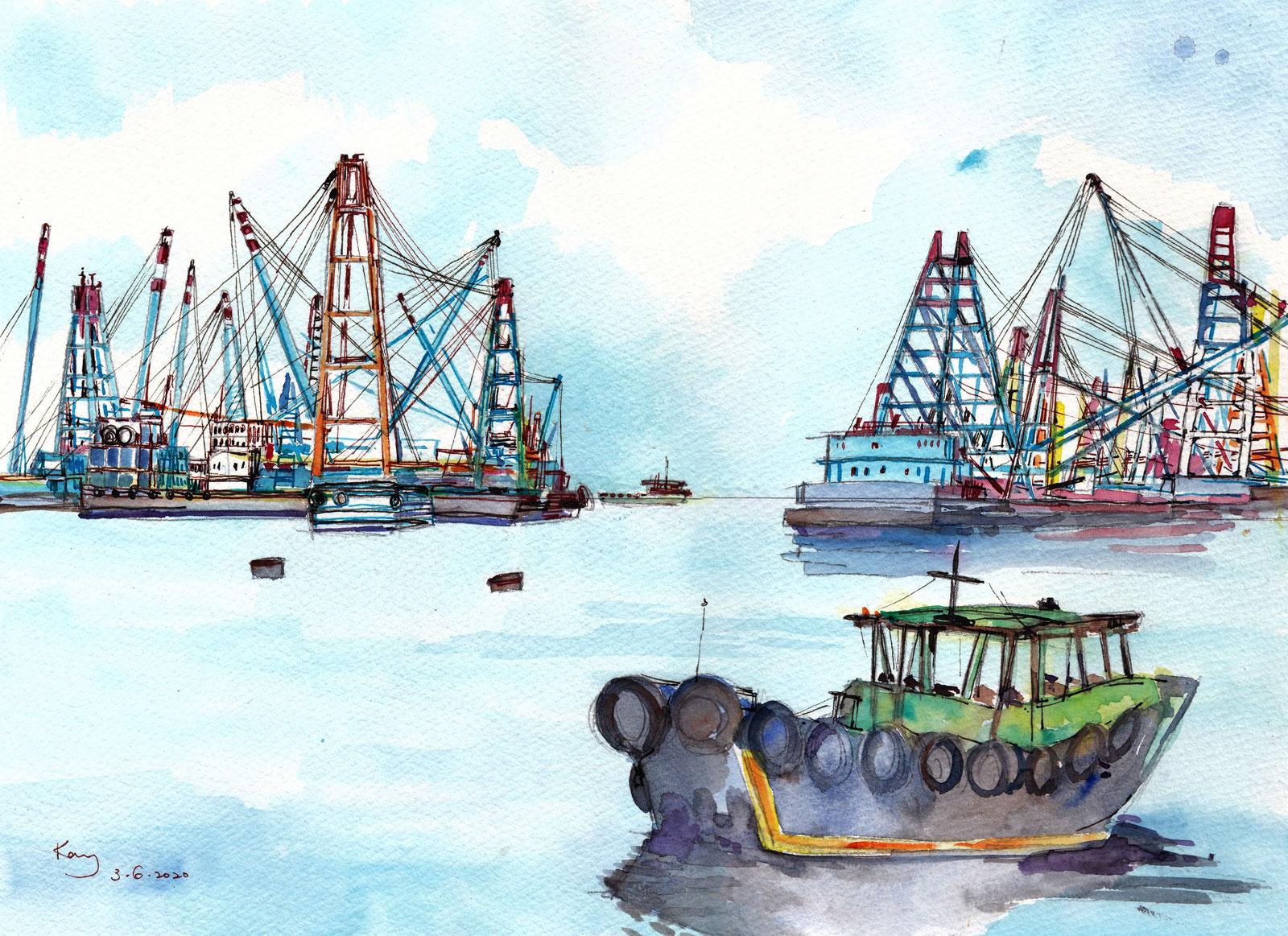 《躉船碼頭》墨及水彩 38.5cm x 29.4cm 3-6-2020