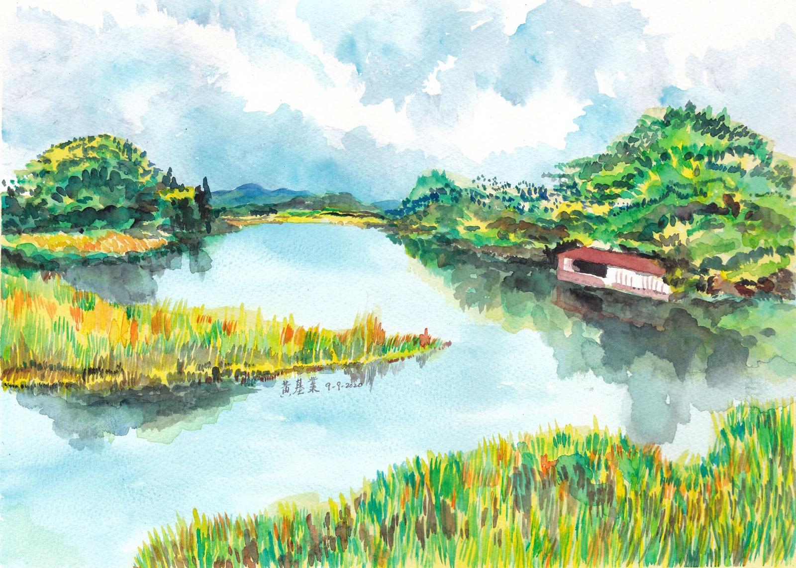 《羅湖魚塘2》(課堂示範)水彩 38.5cm x 29.4cm 9-9-2020