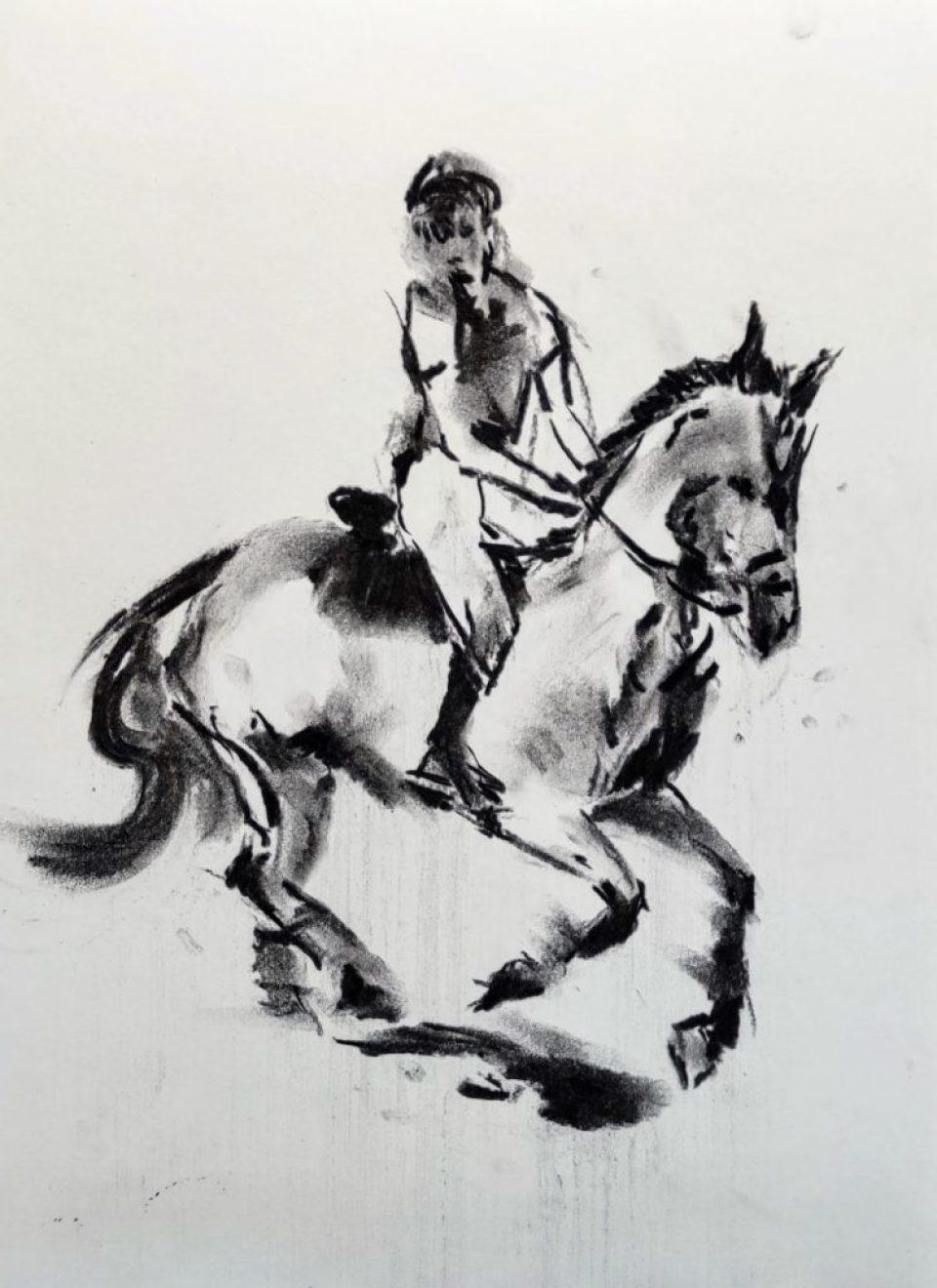 《騎馬》碳支 29cm x 36cm 5-12-2020