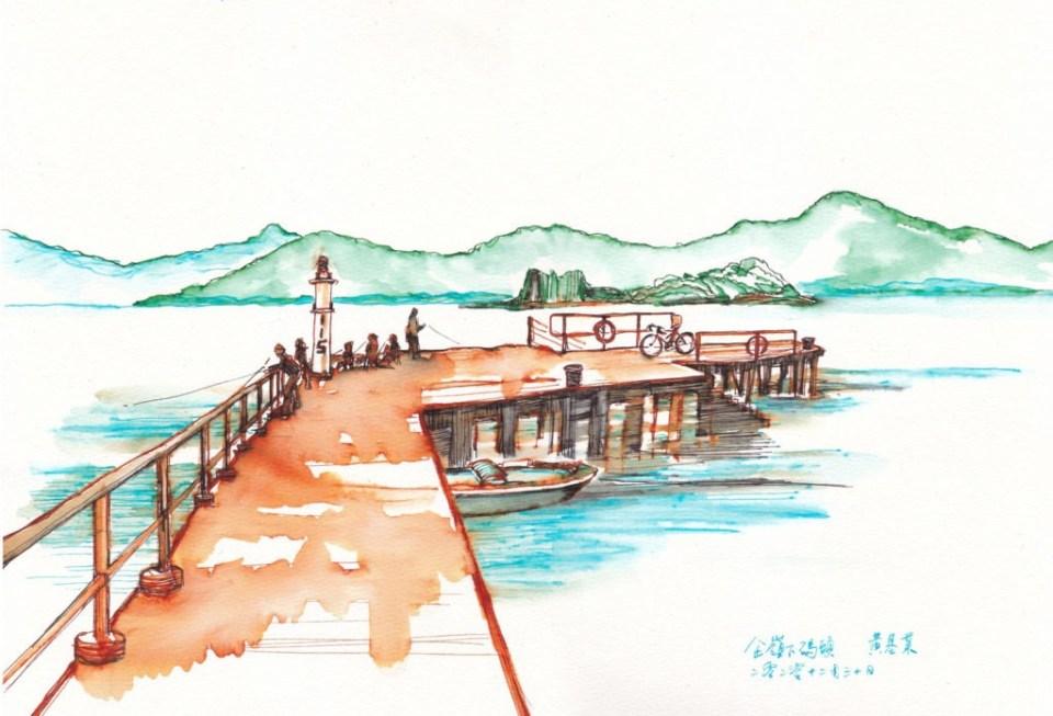 《企嶺下海碼頭》(課堂示範)墨 38cm x 26cm 30-12-2020