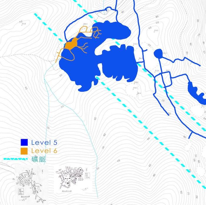 《蓮麻坑 Level 5 + Level 6 礦脈關係示意圖》