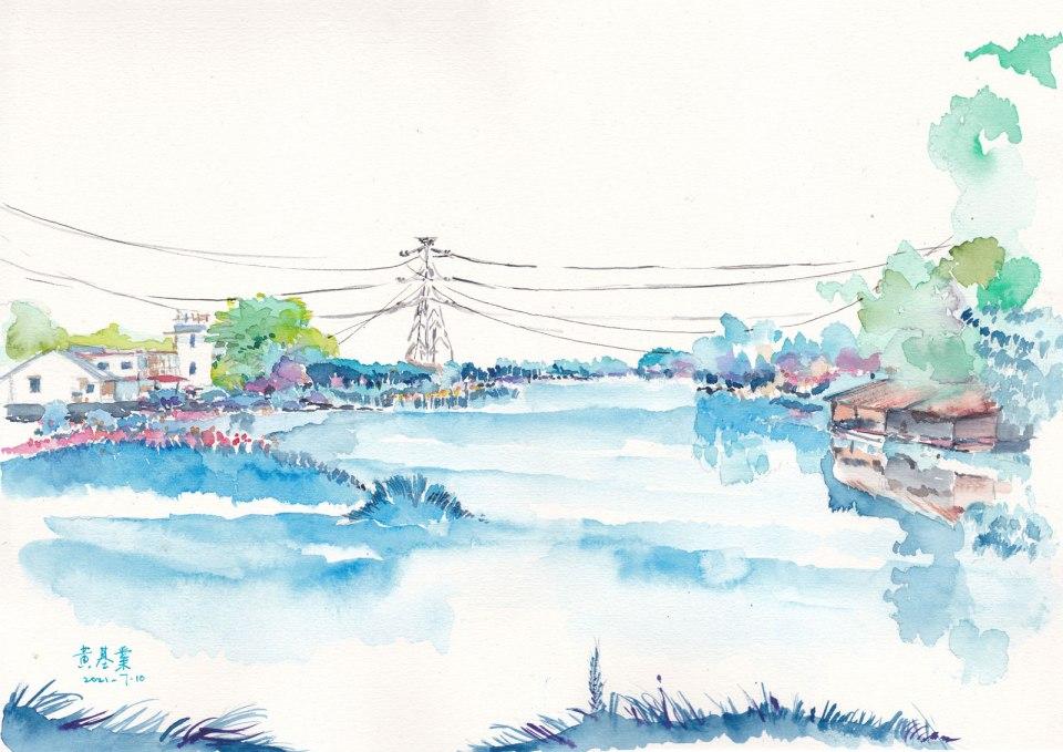 《羅湖魚塘 3》水彩 37cm x 26cm 10-7-2021
