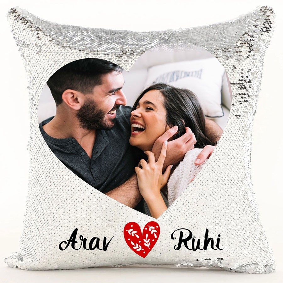 big heart personalized sequin cushion