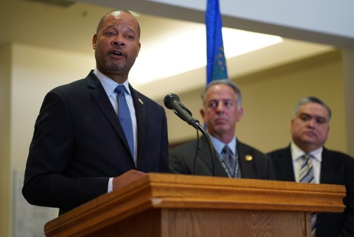 Attorney General Aaron Ford at a press conference for opioid lawsuits