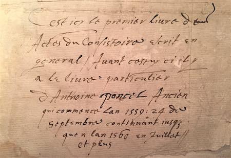 bibliotheque manuscrit Actes du consistoire 1560-1565