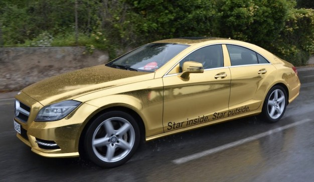 Mercedes-Benz chauffeurs Cannes Film Festival guests in gold-wrapped vehicles