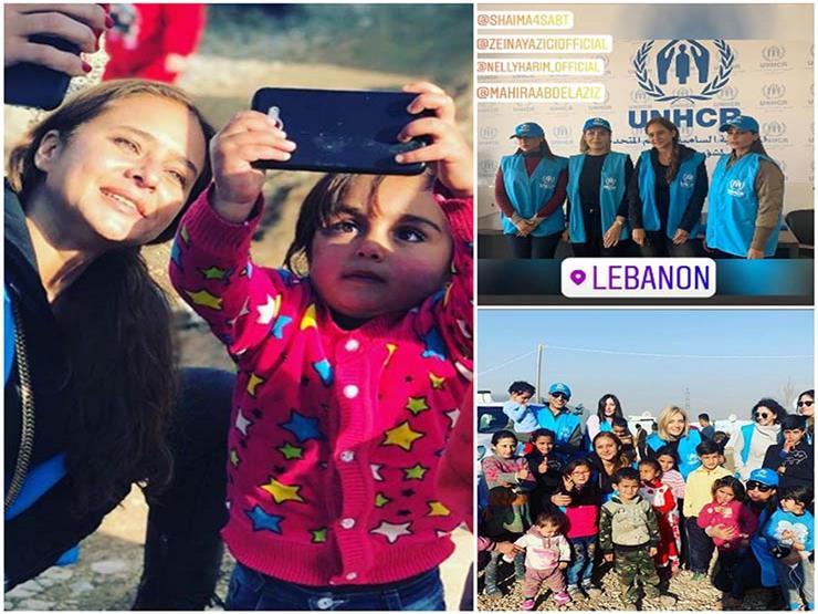 """نيللي كريم مع اللاجئين في لبنان: """"تحدي السنة الجديدة"""""""