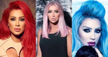 أبرزهن مايا دياب.. من الموف والأزرق للأحمر الصريح اعرفى أغرب ألوان صبغات الشعر