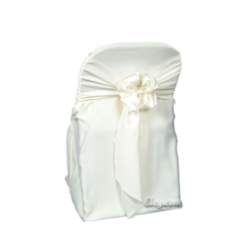 White Satin Lamour Folding Chair Cover Egpres