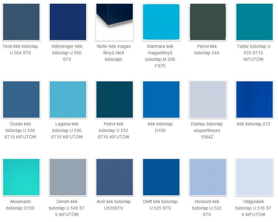 kék bútorlap színek