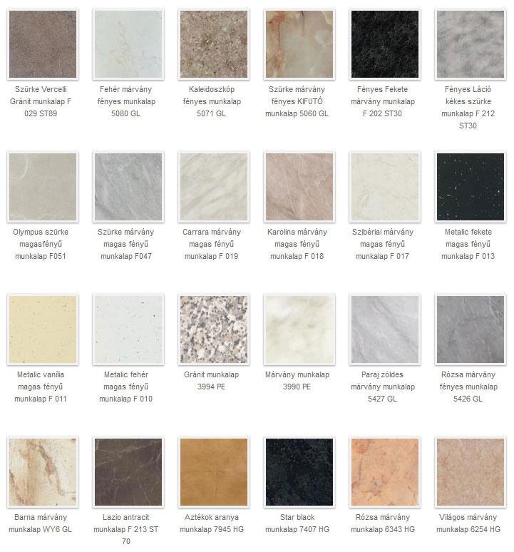 Kő és márvány mintázatú konyhai munkalap színek