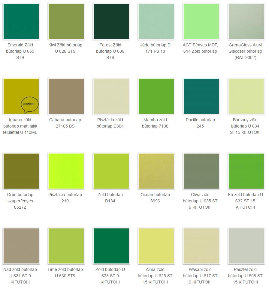 zöld bútorlap színek